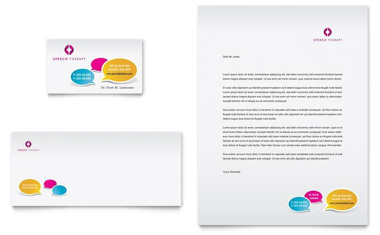 Speech Therapy Education Business Card & Letterhead Template ...