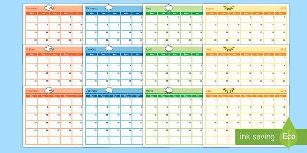 Monthly Calendar Planning Template 2017 - monthly, calendar