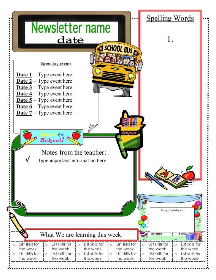 5th Grade Newsletter Template. free editable teacher newsletter ...
