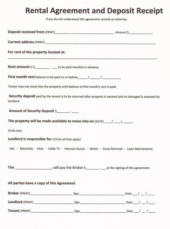 Printable Sample Free Printable Rental Agreements Form | Real ...