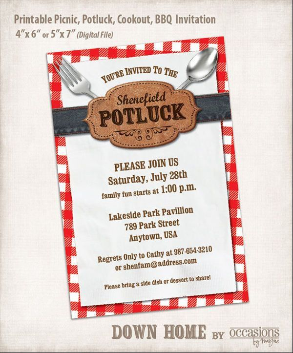 6+ Potluck Email Invitation Template - Design, Templates | Free ...