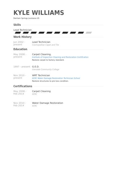 Lead Technician Resume samples - VisualCV resume samples database