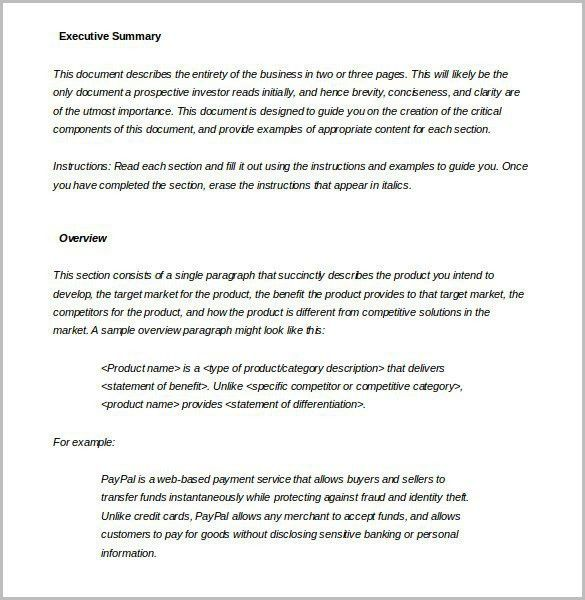 Executive Summary Sample Template. executive summary example ...