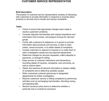 Examples of Related Documents job description customer service ...
