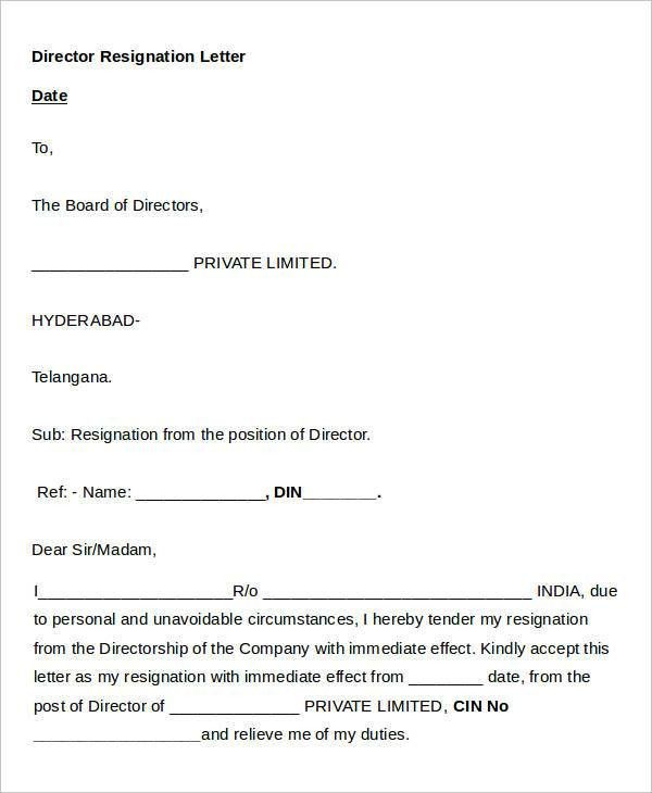 Director Resignation Letter Templates - 7+ Free PDF, Word, Format ...