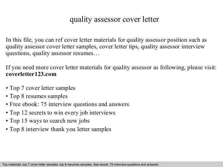 Quality assessor cover letter