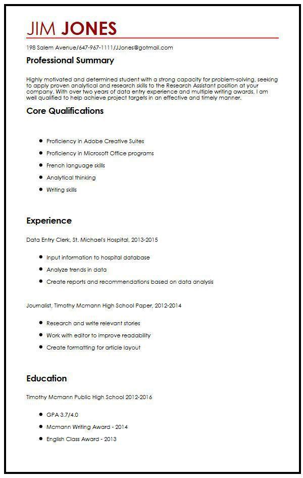 CV Sample for High School Students | MyperfectCV