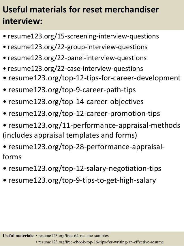 Top 8 reset merchandiser resume samples