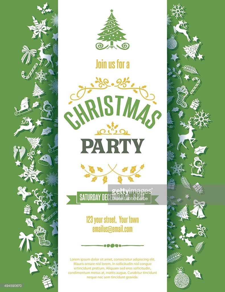 Red Christmas Party Invitation Template Vector Art | Getty Images
