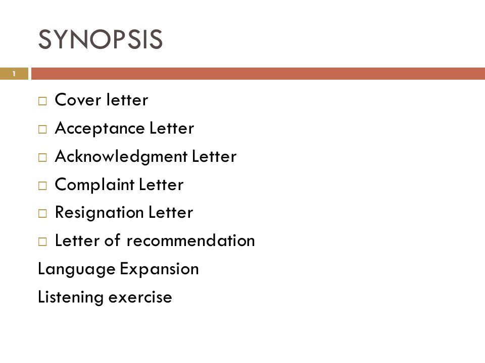 SYNOPSIS Cover letter Acceptance Letter Acknowledgment Letter ...