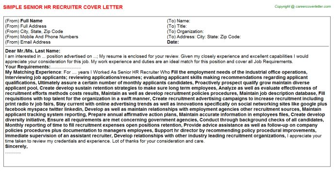 Virtual Recruiter Cover Letters