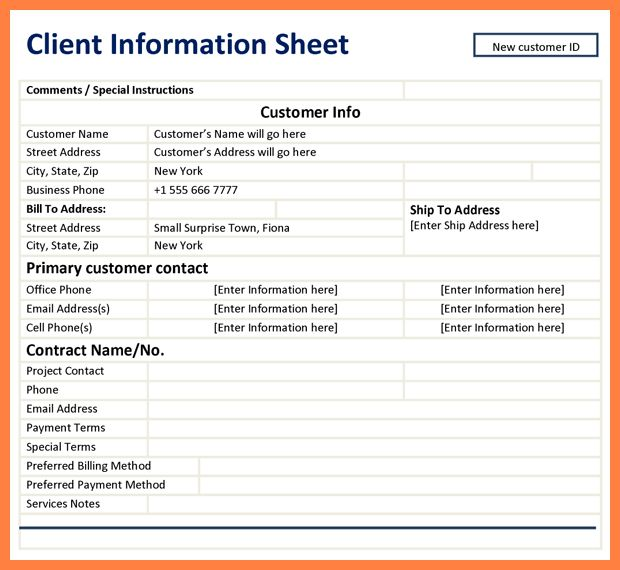 6+ customer information sheet template | Bussines Proposal 2017