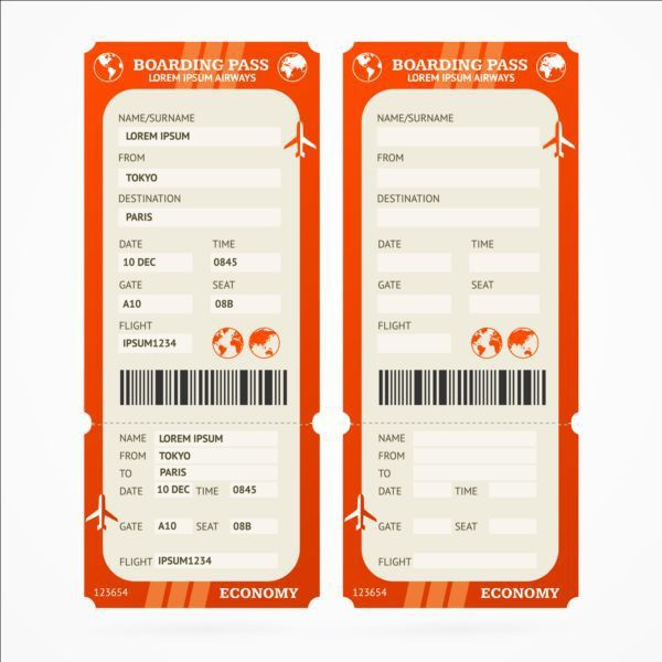 Airline tickets template design vector 06 - Vector Life free download