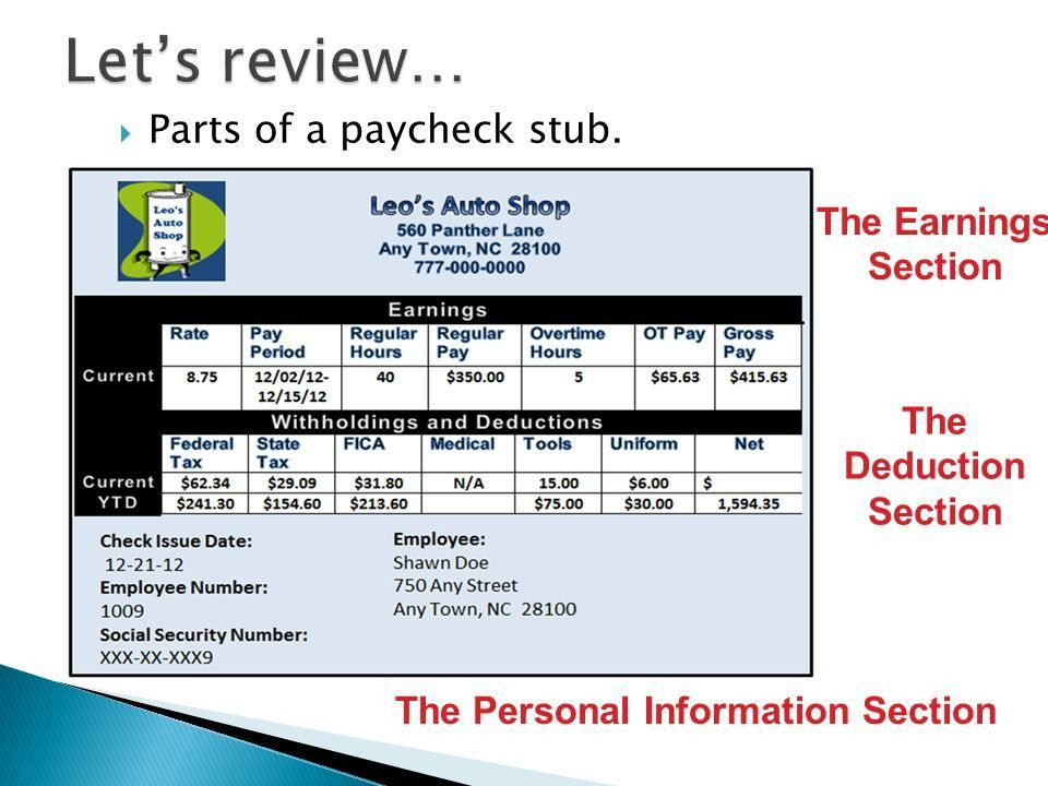 Unit 2 Lesson 2 Remediation 1. The Earnings Section The Deduction ...