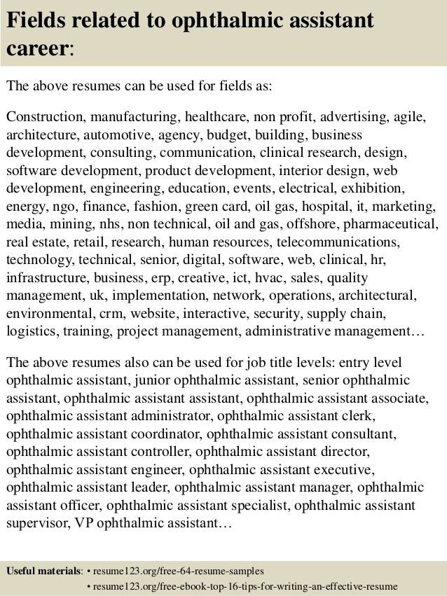 Top 8 ophthalmic assistant resume samples