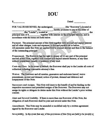 iou form letter template