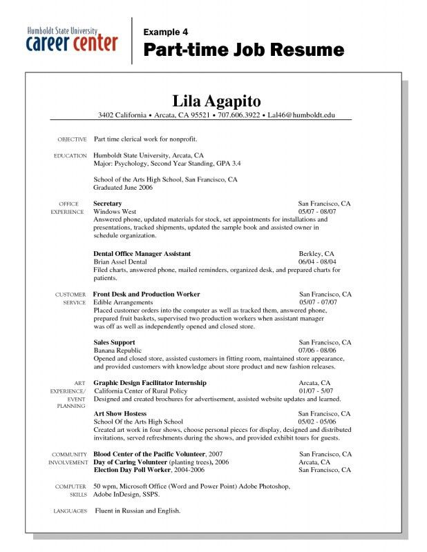 Part Time Job Resume Examples | Samples Of Resumes