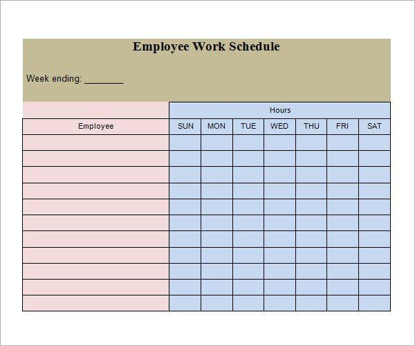 work schedule templates