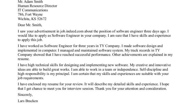 Software engineering cover letter format - Writing Resume Sample ...