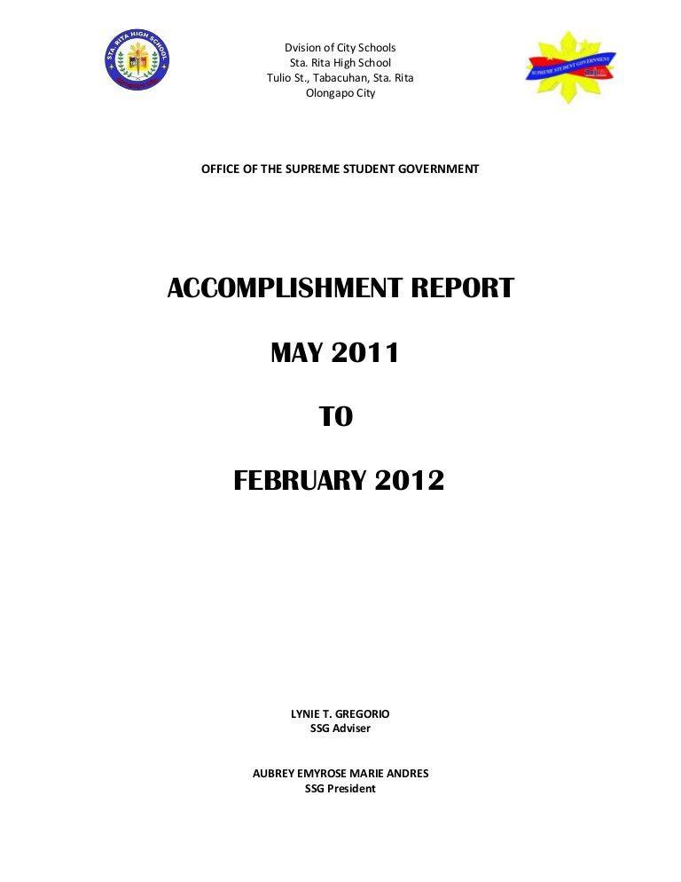 Accomplishment report aubrey