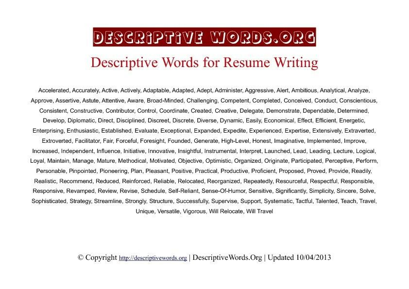 Good Words To Use On A Resume Cover Letter