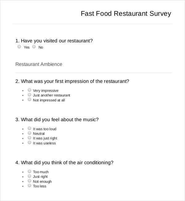 10+ Restaurant Survey Templates – Free Sample, Example, Format ...