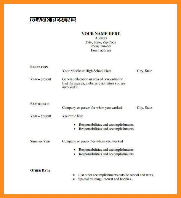 87 captivating blank resume template free templates. empty resume ...