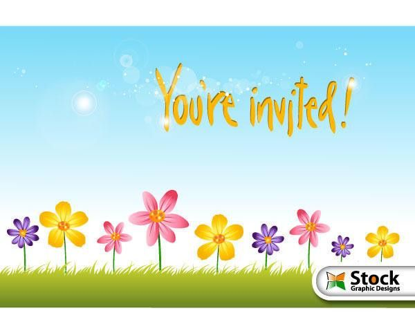 Flower Invitation Background Vector Free | 123Freevectors
