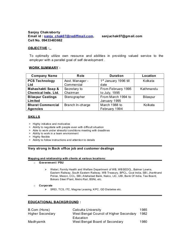 FRESH RESUME OF SANJOY AS ON 15-12-14