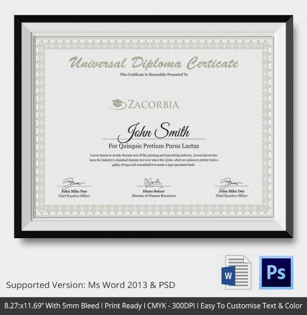 Diploma Certificate Template - 25+ Free Word, PDF, PSD, EPS ...