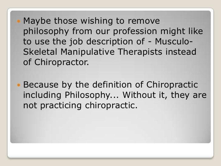 For chiropractic to progress it no longer needs Philosophy?