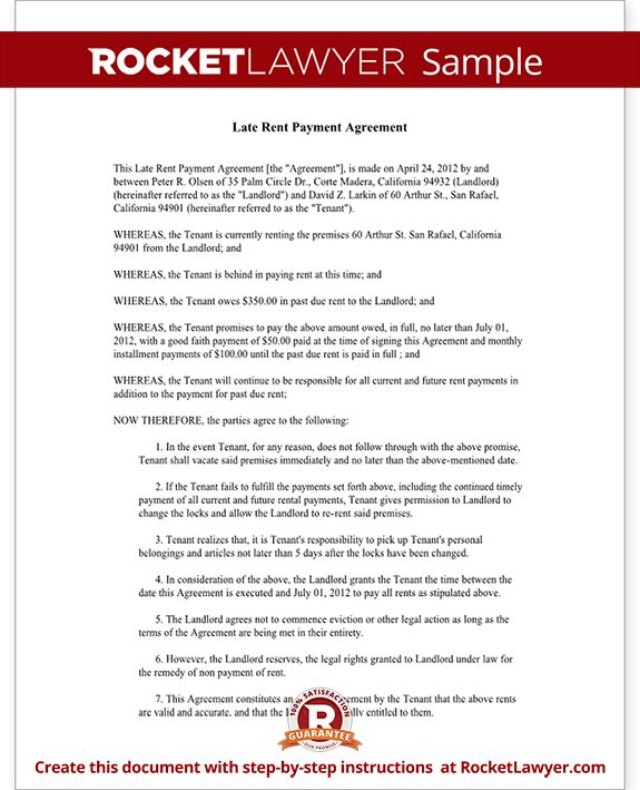 Late Rent Payment Agreement Form (with Sample) - Delinquent & Past Due