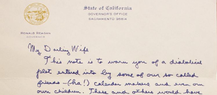 20th Anniversary Love Letter from Ronnald Reagan to Nancy Shows ...