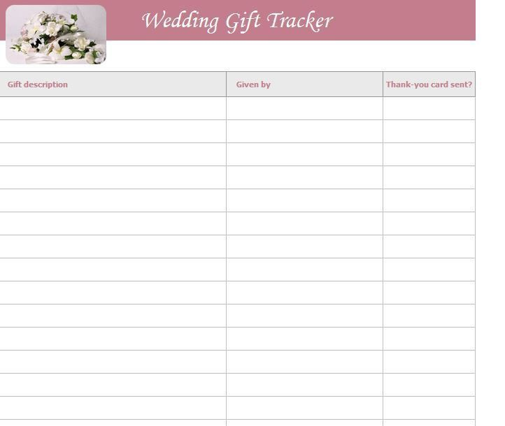 Wedding Gift List Template | Free Wedding Gift List Template