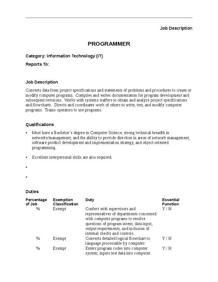 Programmer Job Description   Hashdoc