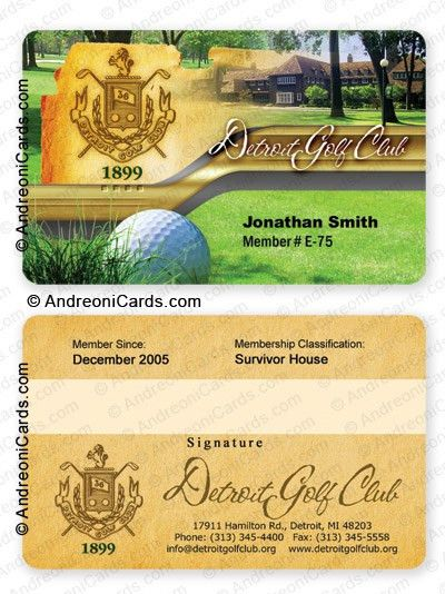 membership card design sample | Detroit Golf Club