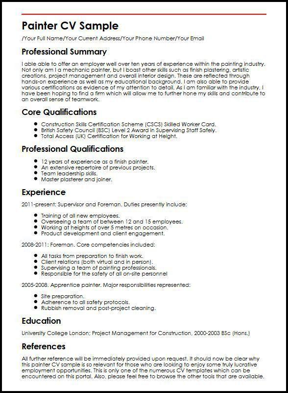 Painter CV Sample | MyperfectCV