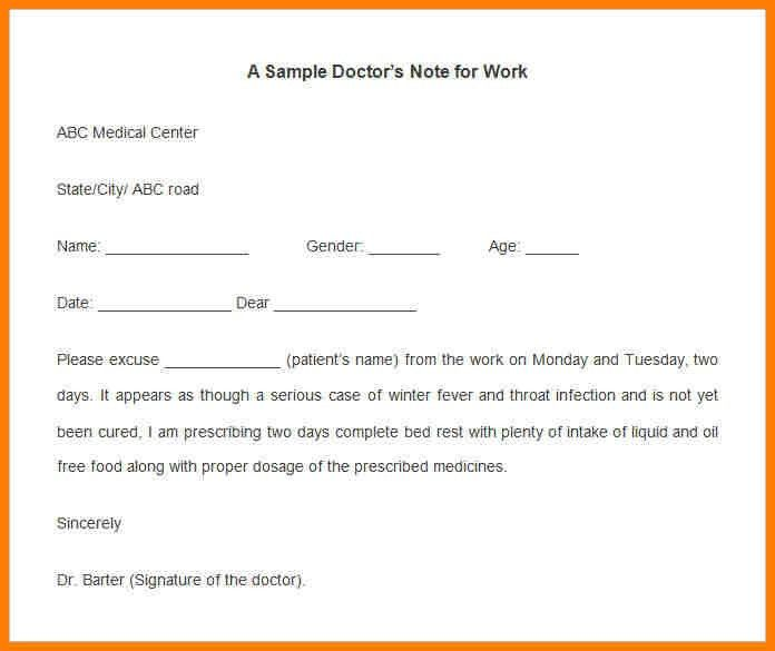 Urgent Care Doctors Note Template.Sample Doctors Note Template For ...