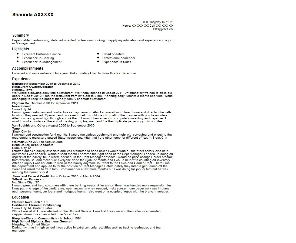 Restaurant Owner Resume Sample | Quintessential LiveCareer