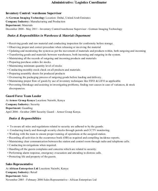 sample resume resume objective logistics coordinator moveresume ...