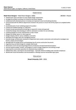 Retail Store Designer Resume Sample | Velvet Jobs