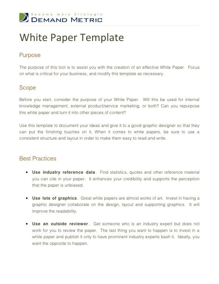 White Paper Outline Template   Thebridgesummit.co