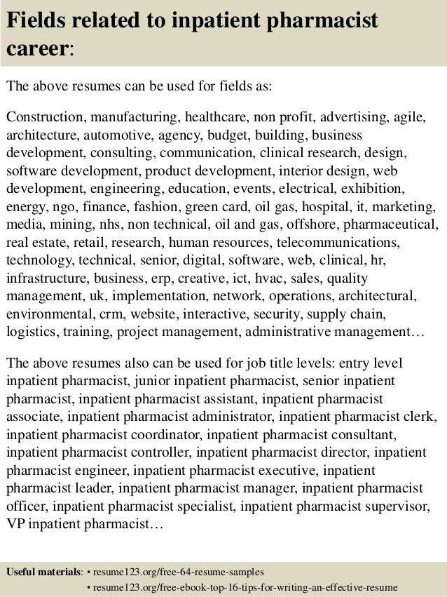 Top 8 inpatient pharmacist resume samples
