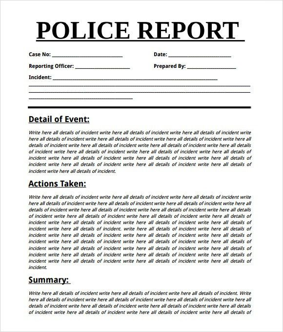 Sample Police Report - 7+ Documents in Word, PDF