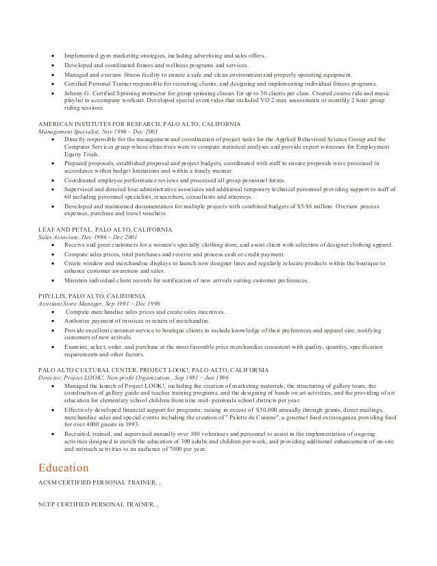 Personal Training Resume, NC