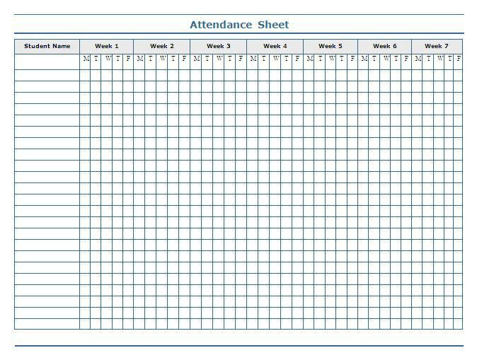 school attendance sheet template