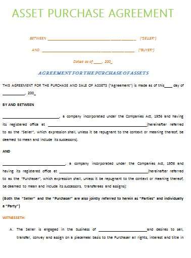 Asset Purchase Agreement Template - Best Example