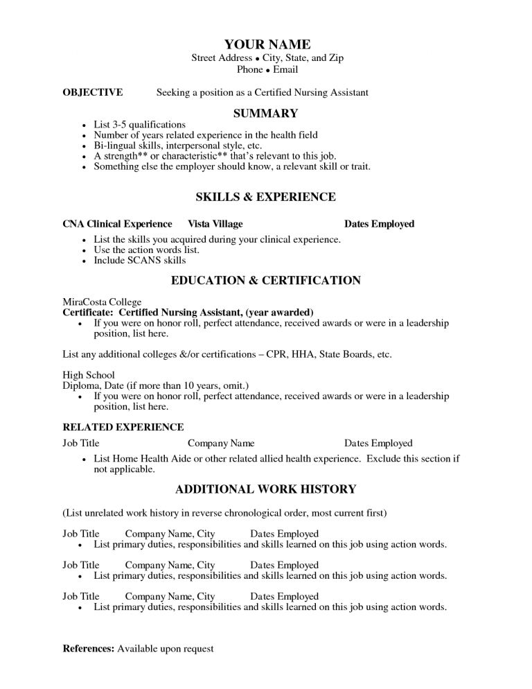Bold Idea Cna Resume Templates 15 Sample Certified Nursing ...