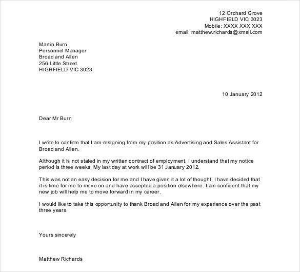 written two week notice