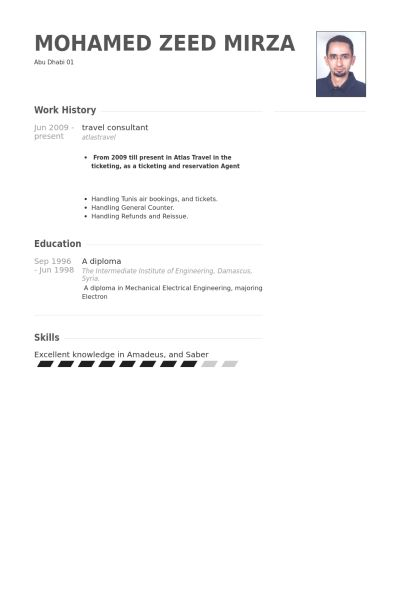 Travel Consultant Resume samples - VisualCV resume samples database